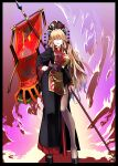 1girl absurdres banner black_border black_dress black_footwear blonde_hair border commentary contrapposto crescent dress fiery_background fire full_body hand_on_hip hat hat_bobbles hat_ornament highres junko_(touhou) kikoka_(mizuumi) long_hair looking_at_viewer outside_border pelvic_curtain red_eyes sash shoes side_slit solo standard_bearer standing tabard tassel touhou very_long_hair wide_sleeves