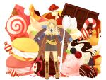 1girl :3 :d alchemist_(ragnarok_online) bangs blue_gloves boots brown_cape brown_dress brown_eyes brown_footwear brown_hair butter cake cake_slice candy candy_cane cape cherry chocolate chocolate_bar chocolate_strawberry commentary_request creature cross-laced_footwear demon deviruchi dress elbow_gloves endo_mame fingerless_gloves food fruit full_body fur_collar gloves heart holding_spork ice_cream lollipop long_hair looking_at_viewer macaron mushroom open_mouth oversized_object pancake ragnarok_online short_dress simple_background smile spore_(ragnarok_online) spork standing strapless strapless_dress strawberry syrup vanilmirth_(ragnarok_online) white_background wrapped_candy