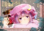 1girl bangs blue_ribbon blunt_bangs blurry blurry_background blush commentary_request crescent crescent_hat_ornament crescent_pin eyebrows_visible_through_hair from_outside hand_on_window hat hat_ornament hat_ribbon looking_at_viewer mob_cap patchouli_knowledge purple_hair rain ram_hachimin red_ribbon ribbon solo touhou upper_body violet_eyes water_drop window window_fog wiping