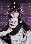 1boy a_hata_(nakamaro0606) absurdres bangs black_cape black_hair black_headwear blurry blurry_background buttons cape checkered closed_mouth commentary_request danganronpa_(series) danganronpa_v3:_killing_harmony double-breasted hair_between_eyes hat highres holding holding_mask jacket knees_up long_sleeves looking_at_viewer male_focus mask mask_removed ouma_kokichi purple_hair short_hair sitting smile straitjacket upper_body violet_eyes white_jacket