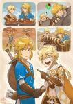 2boys aether_(genshin_impact) blue_eyes braid braided_ponytail brown_gloves climbing crossover gameplay_mechanics genshin_impact gliding gloves highres link looking_at_viewer midair multiple_boys open_mouth paraglider pointing pointy_ears ry-spirit the_legend_of_zelda the_legend_of_zelda:_breath_of_the_wild trait_connection treasure_chest wings