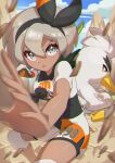 1girl :o absurdres bangs bea_(pokemon) black_bodysuit black_hairband blonde_hair blurry blush bodysuit bodysuit_under_clothes bow_hairband clouds collared_shirt commentary_request day dynamax_band eyelashes gen_8_pokemon gloves grey_eyes gym_leader hair_between_eyes hairband highres knee_pads looking_at_viewer open_mouth outdoors partially_fingerless_gloves pokemon pokemon_(creature) pokemon_(game) pokemon_swsh print_shirt print_shorts rock shiny shiny_skin shirt short_hair short_sleeves shorts side_slit side_slit_shorts single_glove sirfetch'd sky squatting taisa_(lovemokunae) v-shaped_eyebrows