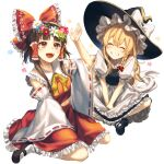 2girls apron bangs black_footwear blonde_hair bow bowtie braid brown_eyes brown_hair closed_eyes commentary detached_sleeves flower flower_wreath frilled_bow frilled_shirt_collar frills full_body grin hair_bow hair_flower hair_ornament hair_tubes hakurei_reimu hat hat_bow head_wreath highres jill_07km kirisame_marisa mary_janes midriff multiple_girls open_mouth puffy_short_sleeves puffy_sleeves red_bow red_shirt red_skirt shirt shoes short_sleeves side_braid signature simple_background single_braid sitting skirt skirt_set smile touhou waist_apron white_background white_bow witch_hat yellow_neckwear