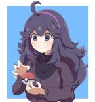 1girl @_@ ahoge alternate_breast_size bangs blue_background blush breasts commentary english_commentary eyebrows_visible_through_hair hairband hex_maniac_(pokemon) highres large_breasts long_hair messy_hair poke_ball poke_ball_(basic) pokemon pokemon_(game) pokemon_xy purple_hair purple_hairband ribbed_sweater solo sugiura_tsuruki sweatdrop sweater telekinesis two-tone_background violet_eyes wavy_mouth
