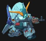 aiming aqua_eyes assault_rifle beam_rifle black_background char's_counterattack chibi energy_gun glowing glowing_eyes gun gundam gundam_msv holding holding_gun holding_weapon mecha mobile_suit re-gz_custom rifle science_fiction solo susagane v-fin weapon