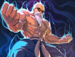 1boy abs alternate_form aura bald beard belt biceps blue_pants clenched_hands dragon_ball dragon_ball_(classic) facial_hair male_focus manly muscular muscular_male mustache muten_roushi navel old old_man pants powering_up red-framed_eyewear shirtless solo sunglasses teeth veins white_belt yonezawa_mao