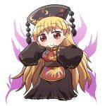 1girl bangs belt black_dress black_headwear black_sleeves blush brown_belt chinese_clothes closed_mouth cowboy_shot dress energy eyebrows_visible_through_hair full_body hat junko_(touhou) long_hair long_sleeves looking_at_viewer orange_hair pom_pom_(clothes) red_eyes rokugou_daisuke simple_background smile solo standing touhou white_background