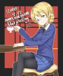 1girl artist_name bangs black_legwear black_neckwear blonde_hair blue_eyes blue_skirt blue_sweater braid chair character_name closed_mouth crossed_legs cup darjeeling_(girls_und_panzer) dated dress_shirt english_text eyebrows_visible_through_hair girls_und_panzer half-closed_eyes happy_birthday highres holding holding_cup long_sleeves looking_at_viewer miniskirt necktie outline pantyhose plaid plaid_background pleated_skirt school_uniform shirt short_hair signature sitting skirt smile solo st._gloriana's_school_uniform sweater table teacup tied_hair toon_(noin) twin_braids v-neck white_outline white_shirt wing_collar