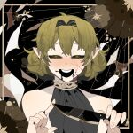 1girl bangs black_blood black_sclera black_shirt blonde_hair colored_sclera commentary_request cracked_skin green_eyes hair_between_eyes hair_intakes holding holding_knife kitchen_knife knife looking_at_viewer mizuhashi_parsee open_mouth pointy_ears shinomiya_0921 shirt short_hair sleeveless sleeveless_shirt solo touhou upper_body