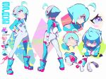 1girl aetherion ahoge angry aqua_eyes asymmetrical_legwear bangs blue_footwear blush blush_stickers character_sheet color_guide crossed_arms energy_gun full_body hand_on_hip highres multicolored multicolored_eyes multiple_views original pink_eyes ray_gun simple_background smile space_girl_(aetherion) weapon white_background