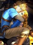 1boy 1girl blonde_hair blue_eyes blue_shirt boots braid brown_pants earrings french_braid green_eyes highres holding_another jewelry link looking_up master_sword michingeaa pants pointy_ears ponytail princess_zelda shirt sweat the_legend_of_zelda the_legend_of_zelda:_breath_of_the_wild