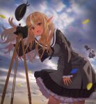 1girl absurdres bellows_camera beret black_sweater blonde_hair braid camera cropped_sweater dark-skinned_female dark_skin dress elf grey_dress half_updo hat hat_removed headwear_removed highres hololive huge_filesize kintsuba_(shiranui_flare) layered_dress long_hair long_sleeves looking_at_viewer multicolored_hair open_mouth outdoors pinstripe_dress pinstripe_pattern pointy_ears sailor_collar sailor_dress shiranui_flare solo streaked_hair striped surprised sweater virtual_youtuber wind wind_lift yukinashi