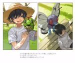 1boy bench black_hair butterfree caterpie closed_eyes closed_mouth commentary_request day gen_1_pokemon grass grey_eyes hat long_sleeves lower_teeth male_focus newo_(shinra-p) on_shoulder open_mouth outdoors pokemon pokemon_(creature) pokemon_on_shoulder shirt short_hair short_sleeves sitting sleeping t-shirt translation_request tree white_shirt yellow_headwear