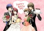 arisato_minato blue_eyes blue_hair brown_eyes brown_hair cake couple dress elbow_gloves female_protagonist_(persona_3) flower food formal gloves happy_birthday heart jewelry kirijou_mitsuru necklace pastry persona persona_3 persona_3_portable red_eyes red_hair redhead ribbon sananan smile suit sweatdrop wink