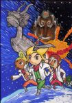 explosion falco_lombardi fox_mccloud ganondorf gloves highres link makar male medli nintendo parody peppy_hare planet pointy_ears space_craft star_fox tetra the_king_of_red_lions the_legend_of_zelda toon_link wind_waker wink