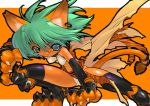 aqua_eyes blade_(artist) blade_(lovewn) cat_ears chamcham earrings green_hair jewelry pose short_hair solo tail thigh-highs thighhighs tiger_print