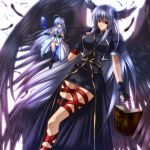 black_hair black_wings blue_eyes blue_hair book book_of_the_azure_sky breasts feathers fingerless_gloves gloves head_wings huge_breasts juri_(shiningred) jyuri_(artist) legs long_hair long_legs mahou_shoujo_lyrical_nanoha mahou_shoujo_lyrical_nanoha_a's mahou_shoujo_lyrical_nanoha_strikers minigirl multiple_wings red_eyes reinforce reinforce_zwei silver_hair single_thighhigh thigh-highs thighhighs thighs time_paradox tome_of_the_night_sky very_long_hair wings yagami_hayate