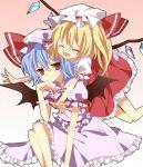 bin-pu flandre_scarlet hat hug remilia_scarlet short_hair siblings sisters smile touhou wings yuiki_(cube)