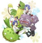 blue_hair boots cacnea carnivine chimecho dual_persona flower gloves green_eyes kojirou_(pokemon) male mime_jr. multiple_boys pokemon pokemon_(anime) pokemon_(creature) rose short_hair team_rocket time_paradox usao_(313131) victreebel weezing