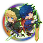 belt blonde_hair blue_eyes blue_hair cape earrings fire_emblem fire_emblem:_souen_no_kiseki gloves hat headband ike jewelry link nikayu nintendo pointy_ears shield smile super_smash_bros. sword the_legend_of_zelda twilight_princess weapon