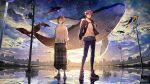 2boys black_jacket blue_pants blue_sky brown_eyes brown_hair closed_mouth clouds cloudy_sky copyright_request fish floating_hair flying_fish flying_whale high_collar hood hood_down hooded_jacket jacket light_smile long_hair looking_at_viewer male_focus multiple_boys nozaki_tsubata open_clothes open_jacket outdoors pants plaid plaid_pants puffy_pants reflection road_sign shirt sign sky socks standing standing_on_liquid sunset unmoving_pattern utility_pole very_long_hair water whale white_legwear white_shirt