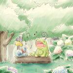 closed_eyes commentary_request day gen_2_pokemon gen_8_pokemon grass kinakomochi_(kazuna922) music musical_note no_humans open_mouth outdoors pokemon pokemon_(creature) politoed rain singing sitting sobble toes tongue tree