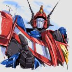 1980s_(style) 1boy autobot blue_eyes commission cropped_torso english_commentary highres hinomars19 looking_at_viewer mecha no_humans retro_artstyle science_fiction second-party_source solo star_saber_(transformers) thumbs_up transformers transformers_super-god_masterforce upper_body
