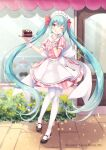 1girl ;) ;q apron aqua_eyes aqua_hair bangs black_footwear blush cake commentary_request dress eyebrows_visible_through_hair food frilled_apron frills full_body gomano_rio hair_between_eyes hair_ribbon hatsune_miku highres holding holding_plate long_hair looking_at_viewer maid_headdress mary_janes one_eye_closed outdoors pantyhose pink_dress plate puffy_short_sleeves puffy_sleeves red_ribbon ribbon shoes short_sleeves smile solo standing storefront striped tongue tongue_out twintails vertical-striped_dress vertical_stripes very_long_hair vocaloid white_apron white_legwear