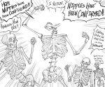 bb_(baalbuddy) bone cheering collarbone english_text highres monochrome open_mouth original skeleton skull