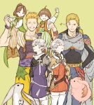 2girls 4boys ahoge alisaie_leveilleur alphinaud_leveilleur angelo_(ff14) beard blonde_hair brother_and_sister brothers brown_hair carbuncle_(final_fantasy) carrying edgar_roni_figaro facial_hair final_fantasy final_fantasy_iv final_fantasy_vi final_fantasy_xiv hand_on_hip looking_at_another mash_rene_figaro multiple_boys multiple_girls n122425 one_eye_closed palom pointy_ears ponytail porom shoulder_carry siblings silver_hair smile standing striped twins vertical_stripes