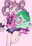 :d amezawa_koma blue_shorts brown_hair bulbasaur gen_1_pokemon green_eyes looking_at_viewer navel open_mouth outstretched_arms pink_background pink_footwear pink_shirt pokemon pokemon_(game) pokemon_xy scrunchie shauna_(pokemon) shirt shoes short_shorts shorts simple_background smile spread_arms standing standing_on_one_leg twintails wrist_scrunchie