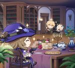 1boy 2girls aether_(genshin_impact) ahoge artist_request bangs blonde_hair book bookshelf brown_hair candle capelet chibi closed_eyes cup door dress earrings english_commentary flower food genshin_impact gloves hair_ornament halo hat holding holding_book holding_cup indoors jewelry lisa_minci long_hair multiple_girls official_art open_mouth paimon_(genshin_impact) pancake pizza plant potted_plant rose single_earring sitting smile sparkle sparkling_eyes table teapot white_hair witch_hat yellow_eyes