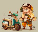 1girl adjusting_clothes adjusting_headwear aqua_eyes baggy_pants blonde_hair boots brown_footwear dated gloves graffiti_smash grin ground_vehicle hat highres jewelry low_twintails midriff motor_vehicle navel necklace pants scooter signature smile solo strapless suparu_(detteiu) tubetop twintails