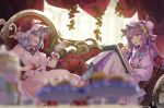 2girls :d :o blurry cookie crescent crescent_hair_ornament depth_of_field dress eating eye_contact flower food hair_ornament hat indoors long_hair looking_at_another mob_cap multiple_girls open_mouth patchouli_knowledge pink_dress purple_dress purple_hair red_eyes red_flower remilia_scarlet rose short_hair smile syuri22 touhou very_long_hair violet_eyes window