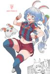 1girl alternate_costume animal_ear_fluff animal_ears artist_name blue_legwear blue_shirt blush braid breasts bunny-shaped_pupils captain_tsubasa carrot_hair_ornament catchphrase cleats commentary copyright_name cowboy_shot cross-laced_footwear english_commentary eyebrows_visible_through_hair fc_barcelona food-themed_hair_ornament foot_out_of_frame groin hair_ornament hair_ribbon highres hololive juggling knee_up light_blue_hair lionel_messi logo long_hair medium_breasts midriff motion_lines multicolored_hair multiple_views nail_polish navel nike nousagi_(usada_pekora) open_mouth parody rabbit_ears red_eyes red_shirt red_shorts ribbon shirt shoes short_shorts short_sleeves shorts simple_background skindentation smile soccer_uniform sportswear striped striped_shirt style_parody sweatband symbol-shaped_pupils symbol_commentary thick_eyebrows thighs translated tress_ribbon twin_braids twintails twitter_username two-tone_hair two-tone_shirt usada_pekora vertical-striped_shirt vertical_stripes vinhnyu virtual_youtuber white_background white_footwear white_hair white_ribbon wristband yellow_nails