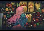 1girl absurdres bubble_skirt from_behind hand_gesture hand_on_own_face hata_no_kokoro highres long_hair long_sleeves mask mi_ri_000 nail_polish noh_mask oni_mask pink_nails plaid plaid_shirt shirt skirt solo tengu_mask touhou