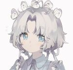 1girl animal_on_head antenna_hair bangs blue_eyes blue_shirt blush bug butterfly captain_yue closed_mouth collared_shirt flying_sweatdrops frills grey_background grey_hair hair_ribbon highres insect looking_at_viewer neck_ribbon on_head original parted_bangs ribbon shirt short_eyebrows simple_background solo thick_eyebrows upper_body white_ribbon