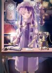 1girl absurdres book candle clock crescent crescent_hat_ornament dress earrings feet_out_of_frame flat_chest gold_trim hat hat_ornament highres jewelry long_hair mob_cap patchouli_knowledge phone purple_dress purple_hair quill sly930105 solo touhou very_long_hair violet_eyes writing