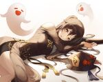1girl absurdres adapted_costume black_hair black_headwear china_dress chinese_clothes clothing_cutout dress flower genshin_impact ghost gold_trim gradient_hair hat hat_flower hat_removed headwear_removed highres hu_tao_(genshin_impact) huge_filesize long_hair looking_at_viewer lying mela_(rbw1s) multicolored_hair nail_polish on_side parted_lips shoulder_cutout star-shaped_pupils star_(symbol) symbol-shaped_pupils tassel twintails