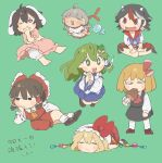 +_+ 6+girls animal_ears barefoot black_hair black_skirt black_vest blonde_hair bloomers blue_skirt blush_stickers boned_meat bow brown_hair carrot chibi citrus_(place) closed_eyes crystal detached_sleeves dress ebisu_eika fang fang_out fangs flandre_scarlet food full_body green_background green_eyes green_hair hair_bow hair_ornament hair_tubes hakurei_reimu hand_on_own_cheek hand_on_own_face hands_clasped hat hat_bow highres horns inaba_tewi jellyfish kijin_seija kochiya_sanae long_earlobes long_hair long_sleeves lying meat multicolored_hair multiple_girls on_stomach open_mouth own_hands_together pink_dress rabbit_ears red_bow red_eyes red_neckwear red_shirt red_skirt redhead rumia shirt shoes short_hair short_sleeves skirt smile snake_hair_ornament socks streaked_hair touhou underwear vest white_headwear white_legwear white_shirt wings yellow_neckwear