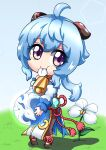 1girl absurdres atawatsho bangs bell black_legwear blue_hair carrying chibi commentary_request detached_sleeves eating eyebrows_visible_through_hair eyes_visible_through_hair flower full_body ganyu_(genshin_impact) genshin_impact grass highres horns long_hair looking_at_viewer neck_bell orb pantyhose petals sidelocks solo violet_eyes vision_(genshin_impact) younger