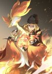 1boy a'he_(the_legend_of_luoxiaohei) beanie black_headwear blonde_hair blue_eyes branch delphox fire gen_6_pokemon gradient gradient_background hat highres looking_at_viewer medium_hair parted_lips pokemon satomune_s smile the_legend_of_luo_xiaohei
