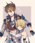 1boy 1girl ? ?? bare_shoulders blonde_hair capelet coat dress earrings feather_hair_ornament feathers flower gauntlets genshin_impact gloves hair_flower hair_ornament hug jewelry kino_(m6t2a) lumine_(genshin_impact) mask mask_on_head orange_hair pants pouty_lips short_hair simple_background single_earring tartaglia_(genshin_impact) white_coat white_dress white_pants