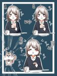 1girl :t ahoge aoza blush_stickers brown_hair cheek_bulge cup eating food highres mug original short_hair squirrel toast