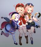 3girls ;d absurdres ahoge amulet animal_ears backpack bag bangs bead_necklace beads bent_over blacky_(blackywacky) bloomers boots braid brown_background brown_footwear brown_scarf cabbie_hat cat_ears cat_tail clover_print coat commentary detached_sleeves diona_(genshin_impact) dodoco_(genshin_impact) english_commentary eyebrows_visible_through_hair full_body genshin_impact gradient gradient_background green_eyes grey_background hair_between_eyes hat hat_feather hat_ornament highres jewelry jiangshi klee_(genshin_impact) light_brown_hair long_hair long_sleeves looking_at_viewer low_ponytail low_twintails midriff multiple_girls navel necklace ofuda one_eye_closed open_mouth orange_eyes parted_lips pink_hair pointing pointing_at_viewer pointy_ears purple_hair qing_guanmao qiqi_(genshin_impact) randoseru red_coat scarf short_hair shorts sidelocks simple_background single_braid smile standing standing_on_one_leg tail thigh-highs thigh_boots twintails underwear violet_eyes white_legwear
