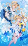 2girls :d ;d absurdres animal_bag bangs barbara_pegg bare_legs black_hair blonde_hair blue_choker blue_eyes blue_sailor_collar book bow chinese_commentary choker commentary_request deadprince dress dual_persona genshin_impact hair_between_eyes hand_up hat highres long_hair long_sleeves looking_at_another multiple_girls official_alternate_costume one-piece_swimsuit one_eye_closed open_mouth pantyhose sailor_collar sailor_hat sandals sky slime_(genshin_impact) smile standing standing_on_one_leg swimsuit thigh_strap twintails water weibo_username white_dress white_headwear white_legwear yellow_bow