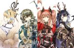 4girls angelina_(arknights) angelina_(distinguished_visitor)_(arknights) animal_ears arknights awakeningdog black_collar black_gloves black_hair black_shirt black_shorts black_sweater blonde_hair blue_hairband braid brown_hair brown_jacket collar commentary copyright_name deer_antlers deer_ears deer_girl drone earpiece floating_hair flower fox_ears fox_girl fox_tail from_behind gloves green_jacket hairband highres holding holding_staff infection_monitor_(arknights) jacket jewelry kitsune kyuubi lily_of_the_valley looking_at_viewer looking_back magallan_(arknights) magallan_(shaved-ice_memories)_(arknights) multicolored_hair multiple_girls multiple_tails necklace off_shoulder official_alternate_costume open_clothes open_jacket red_eyes red_hairband red_jacket ribbed_sweater shirt short_hair shorts simple_background sleeveless_sweater staff streaked_hair suzuran_(arknights) sweater tail tsukinogi_(arknights) twintails upper_body white_background white_gloves white_hair yellow_eyes