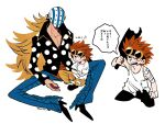 2boys black_eyes black_footwear blonde_hair boots broken_bottle carrying_over_shoulder child clenched_hand cropped_legs crossed_arms eustass_captain_kid highres killer_(one_piece) kuroihato long_hair looking_away male_cleavage male_focus mask multiple_boys one_piece pants patch polka_dot polka_dot_shirt redhead shirt short_hair simple_background sitting t-shirt tank_top translation_request twitter_username white_background white_shirt yellow_pants younger