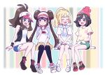 4girls :d antenna_hair arm_support baseball_cap beanie between_legs black_legwear black_vest blonde_hair blue_eyes blush_stickers boots bow breasts brown_hair closed_mouth commentary_request double_bun eyelashes green_shorts hand_between_legs hand_up hands_on_lap hat high_ponytail hilda_(pokemon) knees_together_feet_apart legwear_under_shorts lillie_(pokemon) long_hair miin_(toukotouya) miniskirt multiple_girls open_clothes open_mouth open_vest pantyhose pink_bow pokemon pokemon_(game) pokemon_bw pokemon_bw2 pokemon_sm raglan_sleeves rosa_(pokemon) selene_(pokemon) shirt shoes short_hair short_shorts short_sleeves shorts sidelocks sitting skirt sleeveless sleeveless_shirt smile sneakers socks t-shirt tied_shirt tongue twintails vest visor_cap white_footwear white_shirt white_skirt wristband yellow_shorts |d