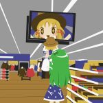2girls absolutely_losing_it_over_this_picture_of_my_brother_with_his_baby_(meme) blonde_hair cobalta derivative_work detached_sleeves dress food frog from_behind green_hair hair_ornament hair_ribbon hat indoors kochiya_sanae long_hair meme moriya_suwako multiple_girls open_mouth photo-referenced red_ribbon ribbon short_hair standing touhou